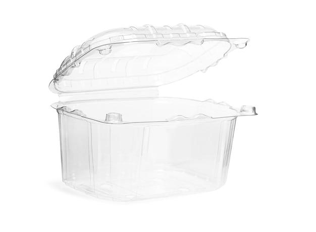 Пустой прозрачный пластиковый ящик для хранения продуктов с крышкой на белом фоне