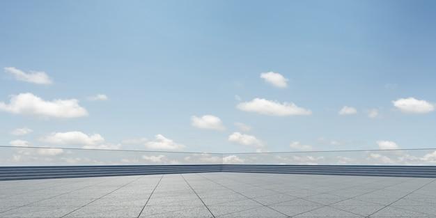 Empty triangle shape stone tiles floor with sky