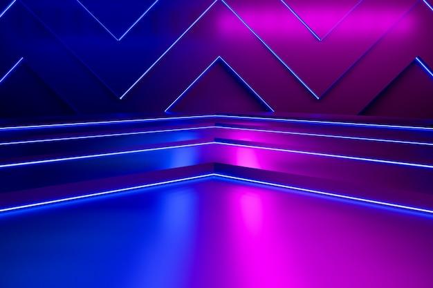 Empty triangle shaped and purple neon light