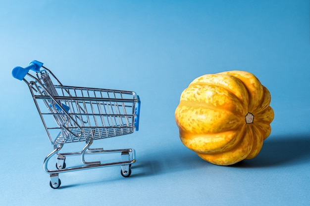 Empty trolley shopping cart and a pumpkin on blue background.
