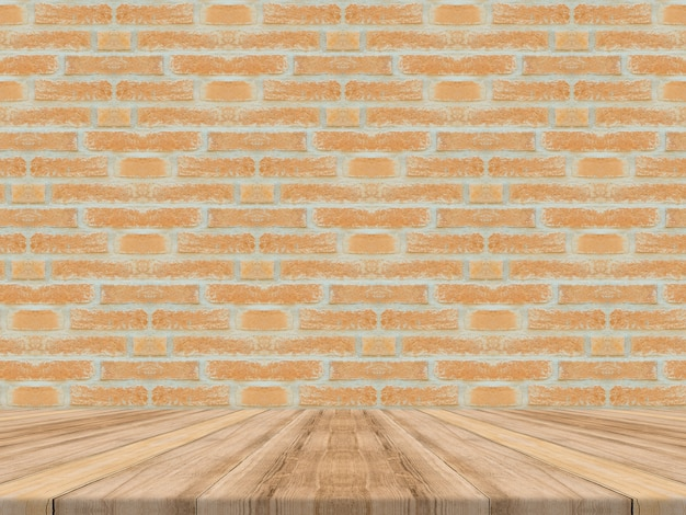Empty tropical wood table top with brick wall,mock up background