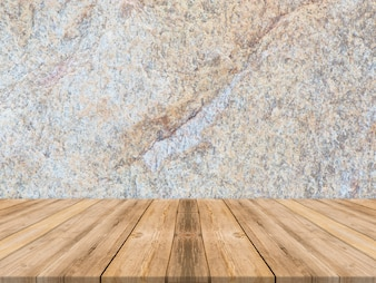 Empty tropical wood table top with dark stone wall