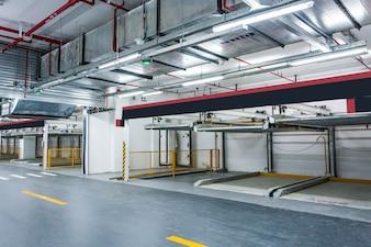 Empty underground parking garage