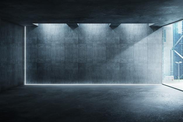 로프트 스타일의 큰 창문이있는 빈 가구가 비치지 않은 현대적인 인테리어. 현대적인 조명 디자인 인테리어의 시멘트 바닥과 벽.