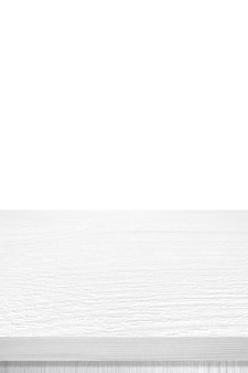 Empty vertical white wooden table top, desk isolated on white background