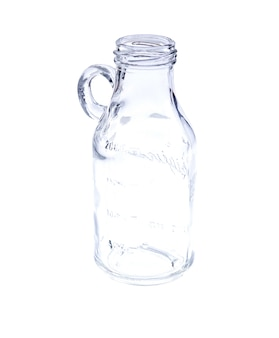 Empty vintage mason jar on white background