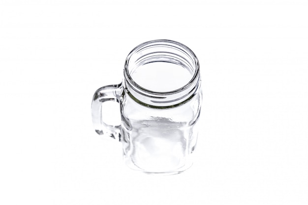Empty vintage mason jar on white background