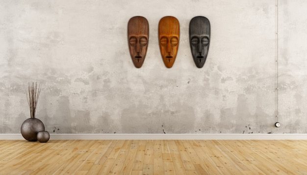 Empty vintage room in ethnic style with african masks on wall
