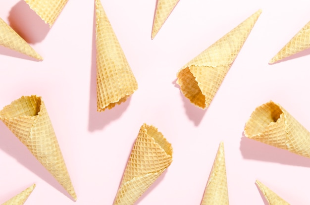 Empty waffle cones scattered on table