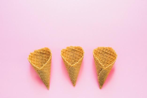Empty waffle cones