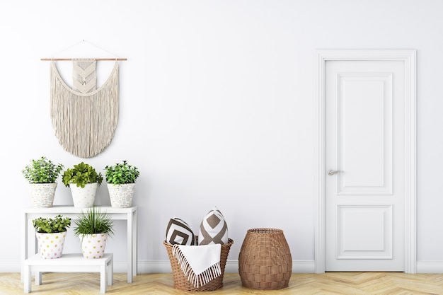 Empty wall in living room and boho style
