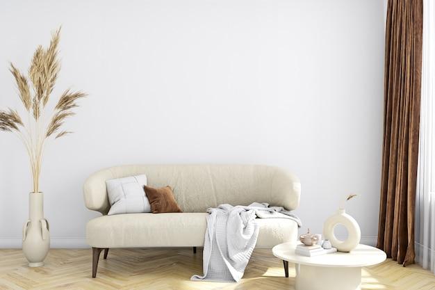Empty wall mockup in living room boho style