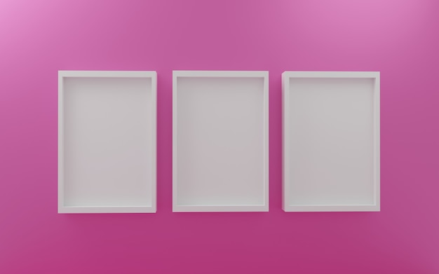 Empty wall photo frames with white photo frame