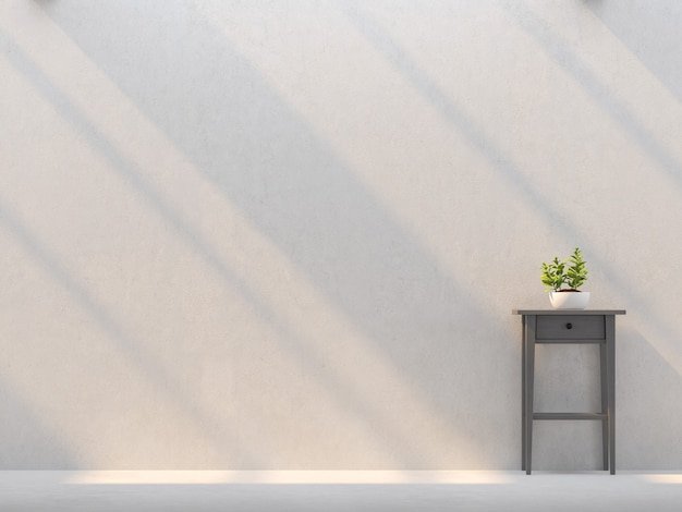 Пустая стена с солнечным светом, сияющим через 3d-рендеринг обставлен темно-серым деревянным шкафом