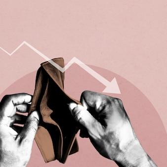 Portafoglio vuoto a causa dell'illustrazione del banner sociale dell'impatto economico del coronavirus