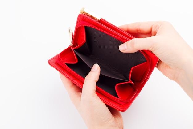 Empty wallet on white