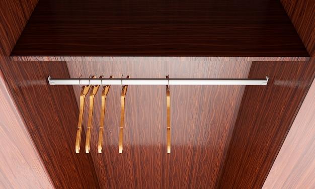 Пустой шкаф и вешалки, изолированные в ярком интерьере. 3d визуализация