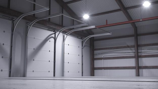 Пустой склад с бетонным полом. 3d иллюстрация