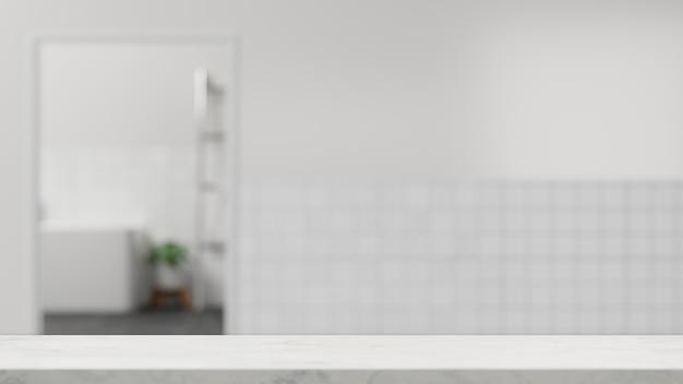 タイルの壁の3dでぼやけた白いバスルームのインテリアの上のモンタージュのための空の白いバスルームのテーブルトップ