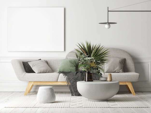 Empty white canvas on the gray wall living room concept with home decoration