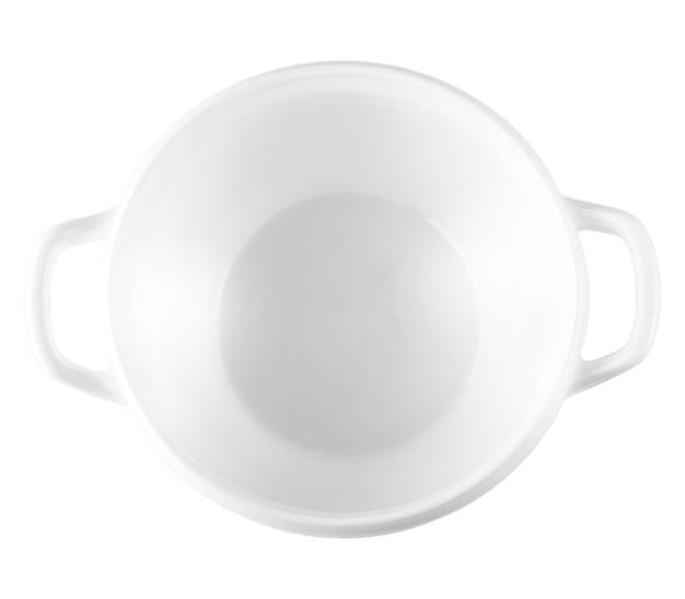 スープ用の空の白いセラミックボウル、白で隔離。