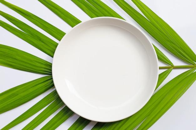 Опорожните белую керамическую плиту на тропической ладони выходит на белую предпосылку.