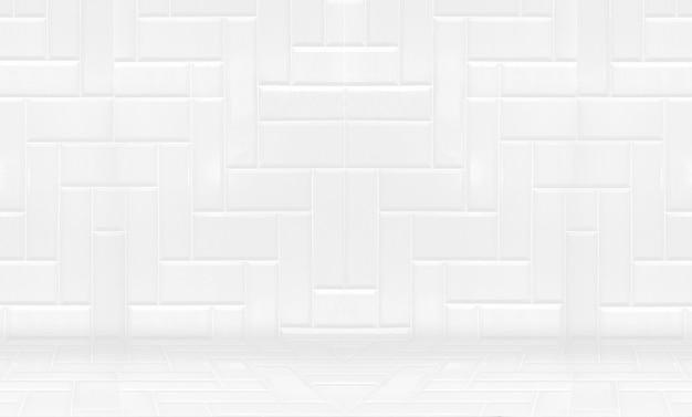 空の白いきれいなセラミックタイルの壁と床の背景、最小限のシンプルなスタイルのインテリアの背景