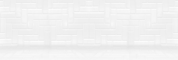 Empty white clean ceramic tile wall and floor background,minimal simple style interior backdrop