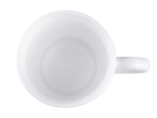 白い背景で隔離の空の白いコーヒーカップ-クリッピングパス。上を見る