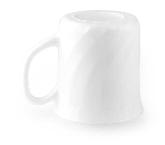 白い背景で隔離の空の白いコーヒーカップ-クリッピングパス