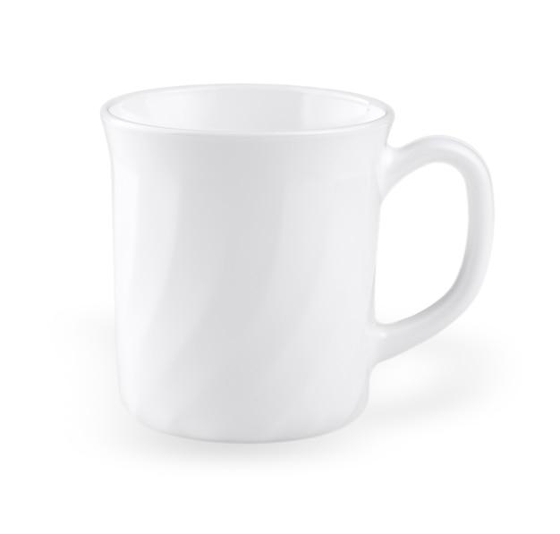 空の白いコーヒーカップが分離されました