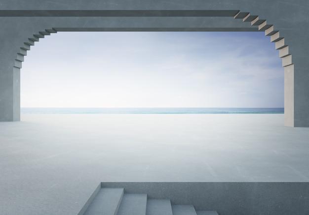 海ビュー都市公園またはショールームで空の白いコンクリートの床。ビーチと青い空と屋外ステージの3 dレンダリング