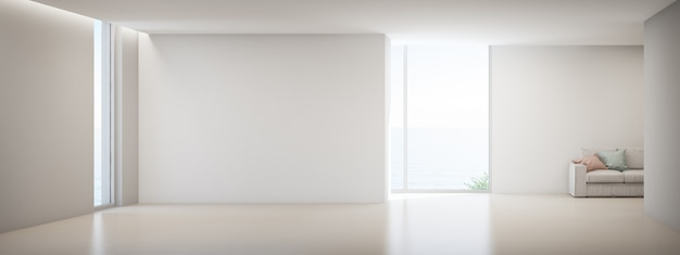 Empty white concrete wall in vacation home or holiday villa.