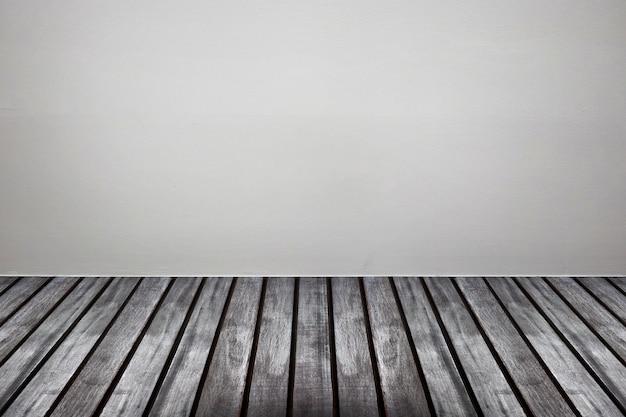 나무 바닥 룸 인테리어와 빈 흰색 콘크리트 벽