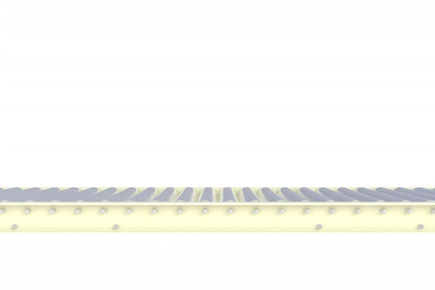 Empty white conveyor line isolated on a white background