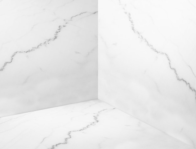 Empty white glossy marble corner room background