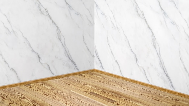 Empty white glossy marble wall and wood plank corner studio room background