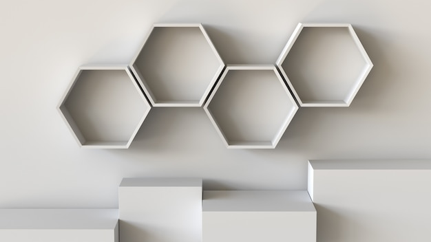 Empty white hexagons shelves and cube box podium on wall background