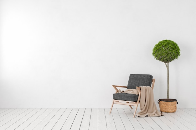 Пустой белый интерьер, глухая стена с креслом для отдыха, дерево растений. 3d визуализация макет иллюстрации.