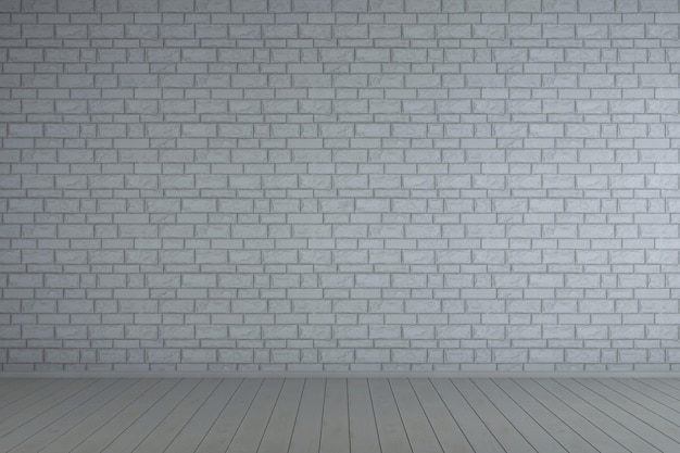 漆喰レンガの壁と空の白いインテリア