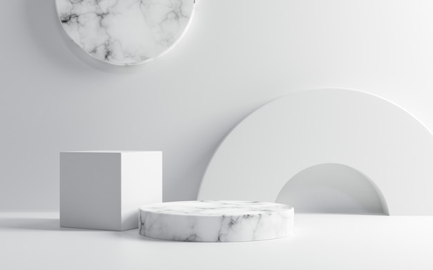 흰색 배경에 빈 흰색 대리석 연단