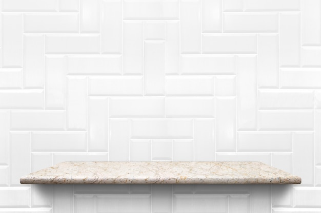 Empty white marble shelf at white ceramic tile wall background