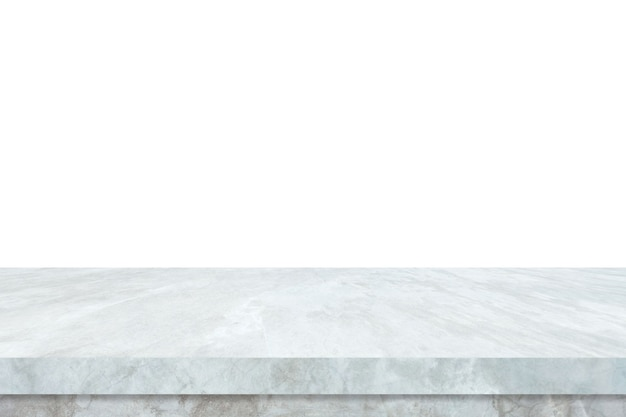 Empty white marble stone table isolated on white background