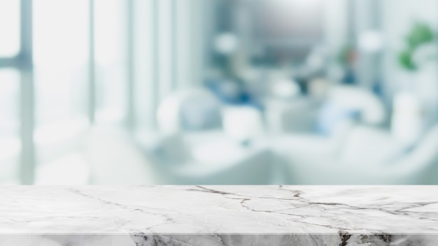 Empty white marble stone table top and blur glass window interior restaurant banner abstract background - can used for display or montage your products.