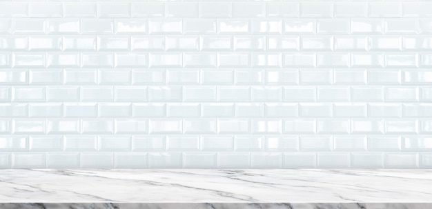 Empty white marble table top with white ceramic tile wall background