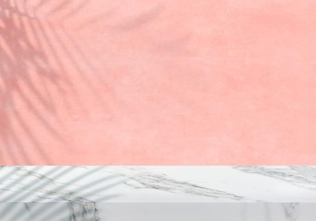 シャドウピーチテクスチャ背景製品の背景と空の白い大理石の卓上