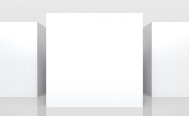 Empty white mock up board of square cube box side stack wall background.