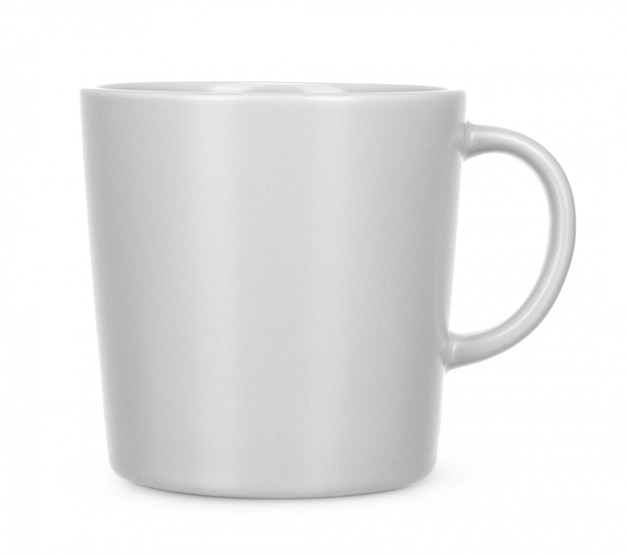 Empty white mug isolate on white background