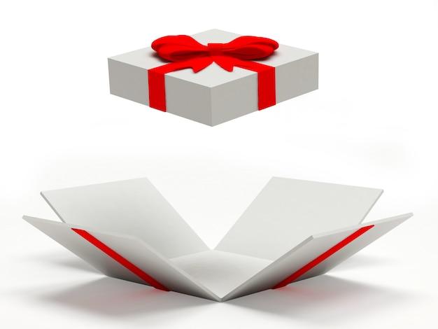 Пустая белая открытая подарочная коробка