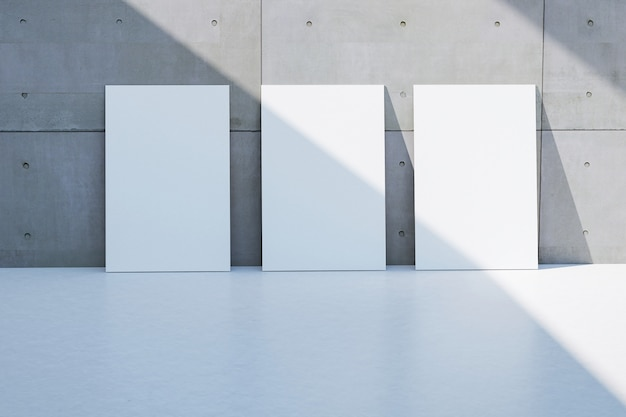Empty white page frame on grunge rough gray cement wall floor texture light and shadow